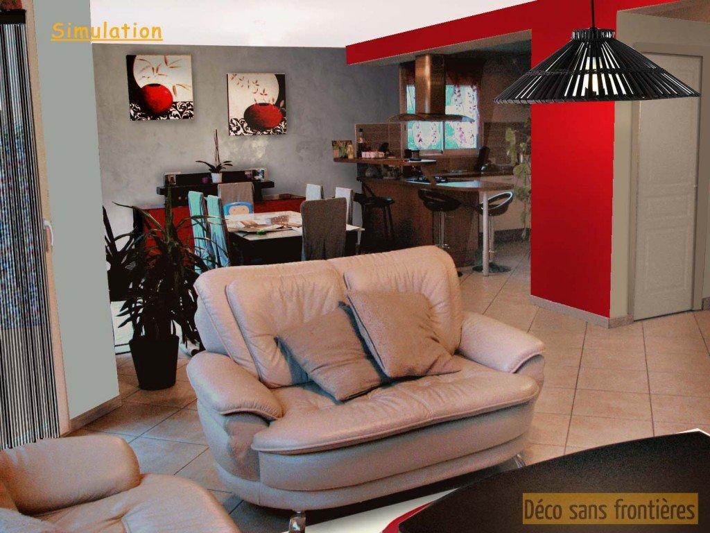 Salon-salle à manger et cuisine de rouge et de noir | Déco Sans ...